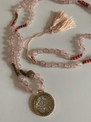 Collar de perlas rosa-color oro