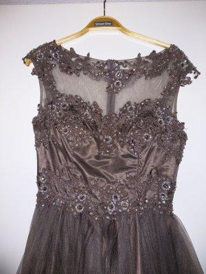 Niente Flounce Dress bronze-colored-grey brown