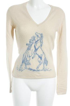Ballantyne Cashmerepullover beige-blau klassischer Stil