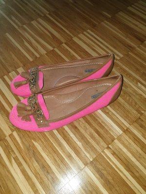 Bailarinas con tacón Mary Jane marrón-rosa