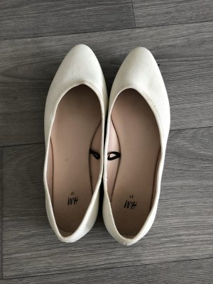H&M Ballerina di pelle verniciata bianco