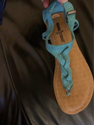 Minnetonka High-Heeled Toe-Post Sandals turquoise