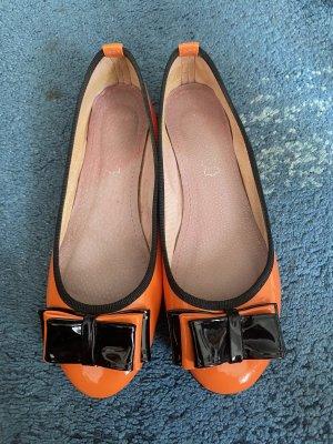 Patent Leather Ballerinas black-neon orange