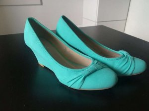 Ballerines à bout ouvert turquoise