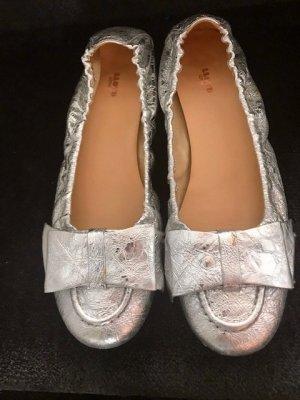 Lloyd Ballerina's met kant zilver Leer