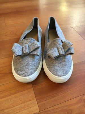 Ballerines Mary Jane gris-blanc tissu mixte