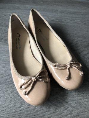Tamaris Ballerina di pelle verniciata crema-beige