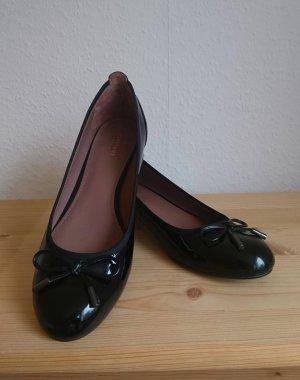 Drievholt Ballerina di pelle verniciata nero