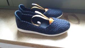 Slingback Ballerinas dark blue-white textile fiber