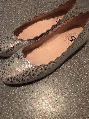 Si Barcelona Lakleren ballerina's zilver