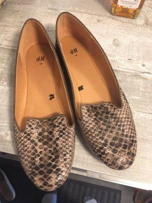 H&M Patent Leather Ballerinas light brown-cream