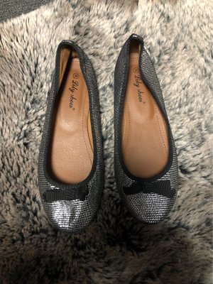 Patent Leather Ballerinas silver-colored-black