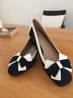 Patent Leather Ballerinas white-dark blue