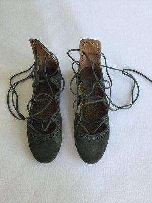 Isabel Marant Ballerines à lacets gris
