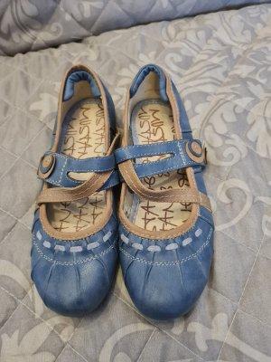 Mustang Ballerines à lacets bleu acier-beige
