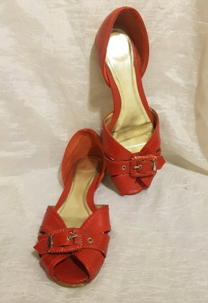 Peep Toe Ballerinas red