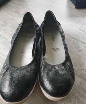 Tamaris Ballerina di pelle verniciata nero