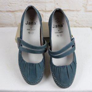 Ballerina Slipper Schuhe 39 Jana Comfort 6 Blau Riemchen Mary Jane Leder Klett