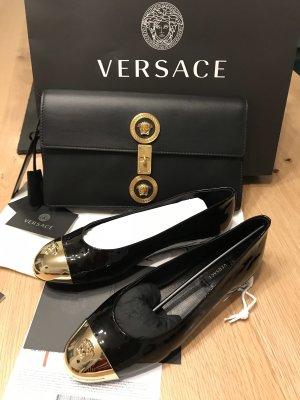 Versace Ballerina di pelle verniciata nero-oro