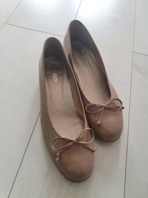 Gabor Patent Leather Ballerinas beige