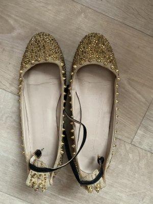 Zara Woman Ballerines à lacets doré