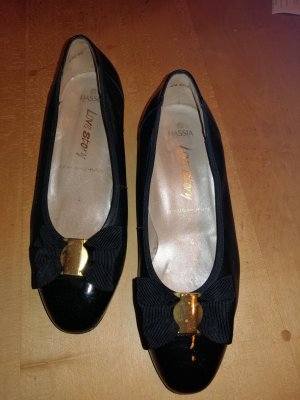 Hassia Patent Leather Ballerinas black-gold-colored