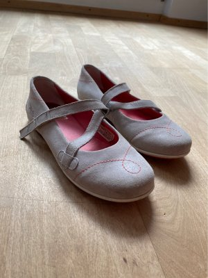 Strappy Ballerinas light grey-bright red