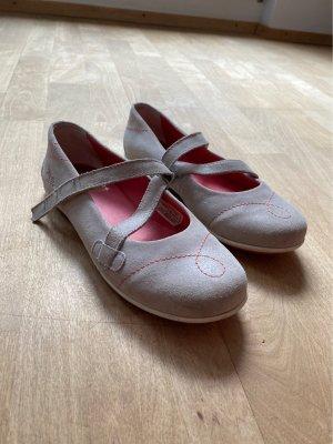 Ballerina con cinturino grigio chiaro-rosso chiaro