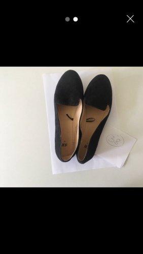 H&M Bailarinas con tacón con punta abierta negro