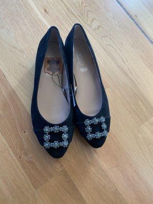 Zapatos sin cordones negro Cuero