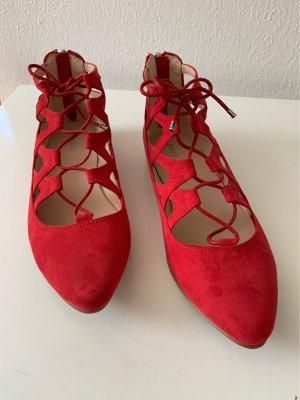 Graceland Baleriny z paskiem za piętą ciemnoczerwony-czerwony