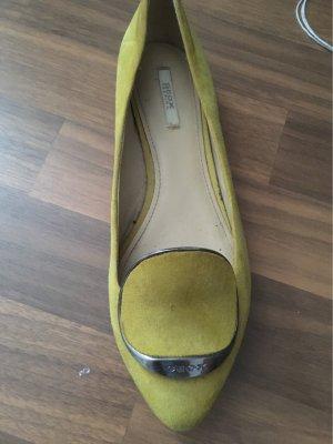 Geox Ballerina's met kant limoen geel