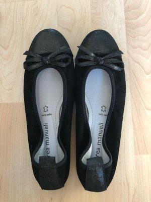 Andrea Manueli Bailarinas plegables negro Cuero