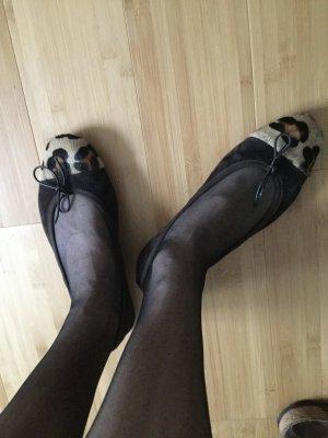 Ballerina's met bandjes roodbruin Leer