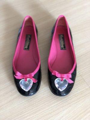Beverly Feldman Patent Leather Ballerinas black-pink