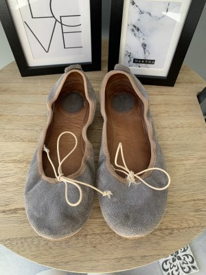 Peep Toe Ballerinas beige-grey leather