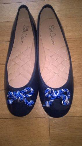 Ella Cruz Patent Leather Ballerinas dark blue leather
