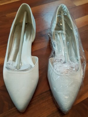 Ballerinas / Brautschuhe, weiß mit silbernem Schimmer, Größe 39, NEU OHNE ETIKETT