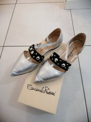 Patent Leather Ballerinas silver-colored imitation leather
