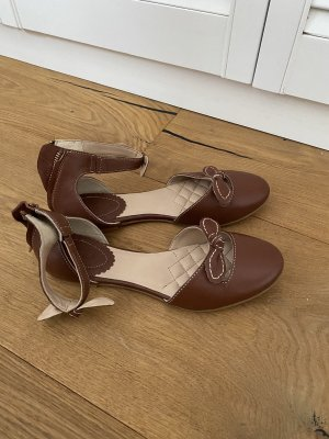 Lands' End Strappy Ballerinas cognac-coloured