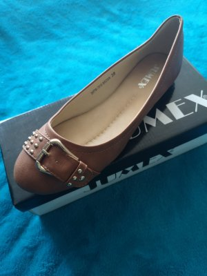 Jumex Peep Toe Ballerinas brown