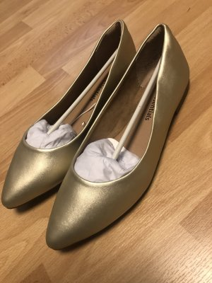 amazon essentials Bailarinas de charol con tacón color oro