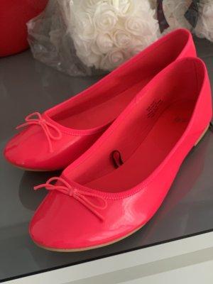 H&M Ballerina di pelle verniciata rosso lampone-rosa