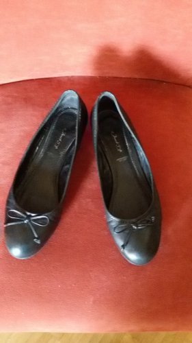 Janet D Mary Jane Ballerinas black leather