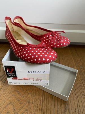 Ballerinas mit Punkten/Dots in rot weiss Gr.41
