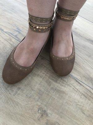Graceland Ballerina's met bandjes lichtbruin-goud