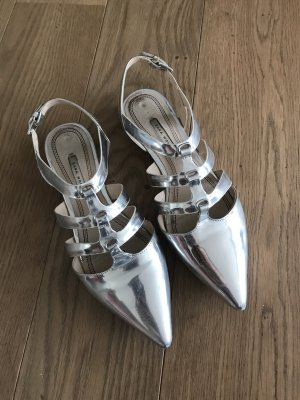 Zara Woman Ballerinas with Toecap silver-colored