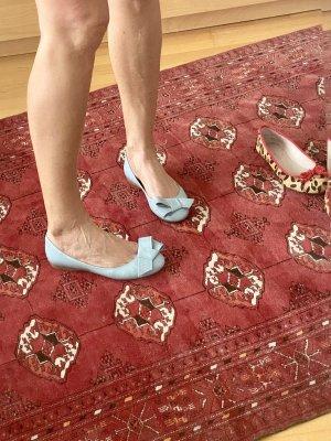 Musette Bailarinas de charol con tacón azul claro