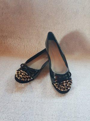 Ballerina di pelle verniciata nero-oro