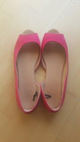 H&M Bailarinas con tacón con punta abierta rosa